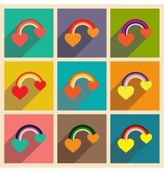 Set of flat web icons with long shadow rainbow vector