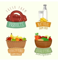 Set of logos design with farm organic products vector