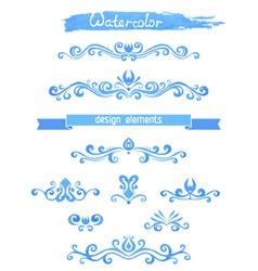 Set of vintage watercolor design elements vector