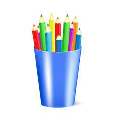 several color pencils in a cup vector image