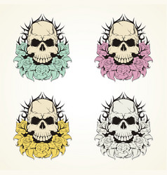 Skull and fowers vector