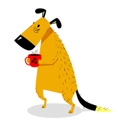 Sleepy dog with a cup of coffee cute sad pet vector