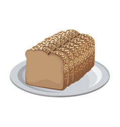 Slice loaf of freshly baked bread wheat whole on vector