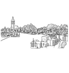 small village in europe sketch vector image