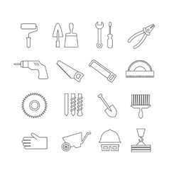 Thin line construction tools home repair vector image