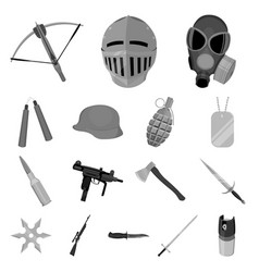 types of weapons monochrome icons in set vector image