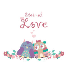 valentines card with owls vector image