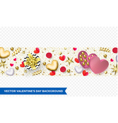 valentines day background heart gift box vector image