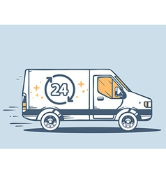 Van free and fast delivering 24 h to cust vector
