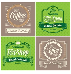 Vintage coffee and tea label design set vector image