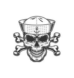 Vintage monochrome skull in sailor hat vector