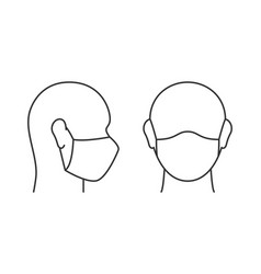 Wearing protective mask linear icon on white vector