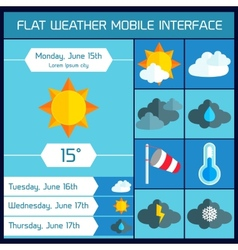 Weather UI Flat design elements for Web and Mobile vector image