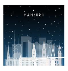 winter night in hamburg night city in flat style vector image