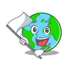 With flag world globe character cartoon vector