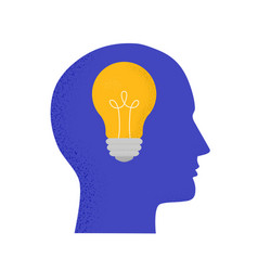 with human head and light bulb trendy concept vector image