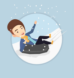woman sledding on snow rubber tube in mountains vector image