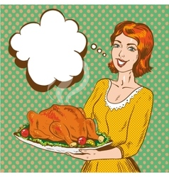 Woman with thanksgiving vector