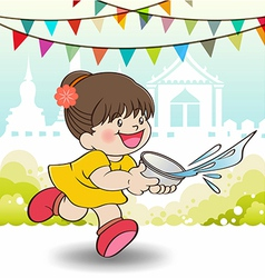 Young Asian girl playing Songkran Festival vector image