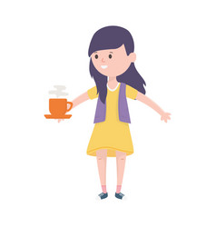 young woman with hot coffee cup vector image