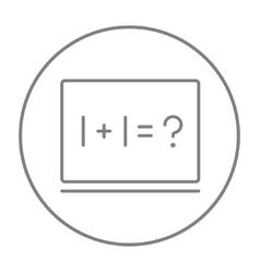 Maths example written on blackboard line icon vector image vector image