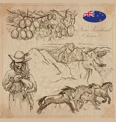 New zealand pictures of life pack hand vector