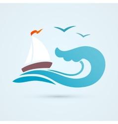 Sail ship wave icon vector image vector image