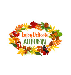 autumn seasonal harvest greeting poster vector image vector image