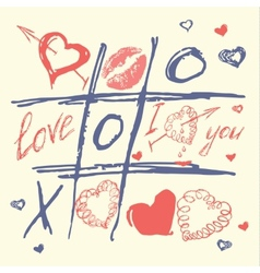 hand drawn love and heart valentines day vector image vector image