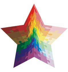 Jigsaw puzzle shape of a star shaped colors vector image