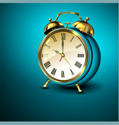 metal retro style alarm clock on blue background vector image vector image