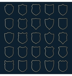 set of golden contour shields vector image vector image