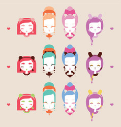 cute girls with cat heads vector image vector image