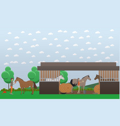 flat of stable and people vector image