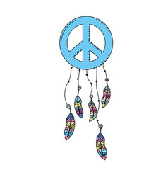 hippie emblem symbol with feathers design vector image vector image
