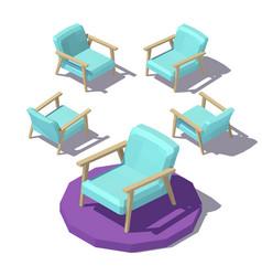 isometric wide armchair vector image vector image