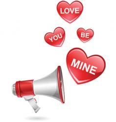 megaphone valentine vector image vector image