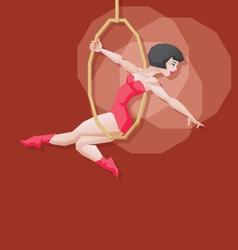 Pin-up cartoon girl circus aerial artist vector image