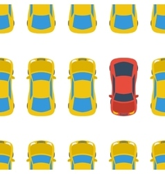 Seamless pattern with cars - top view vector