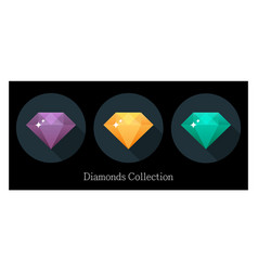 diamonds icons set in different colors vector image