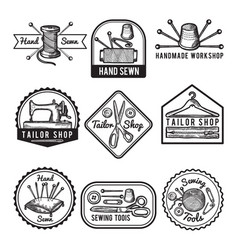different monochrome labels for sewing or tailor vector image