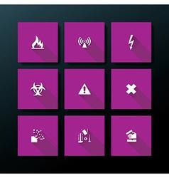 flat warning icon set vector image