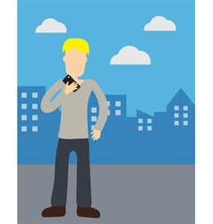Man holding telephone vector image