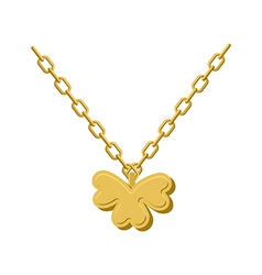 Pendant of Golden clover Gold chain and pendant vector image vector image