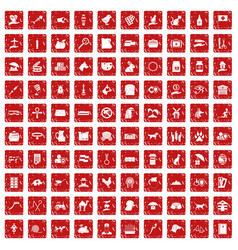 100 pets icons set grunge red vector