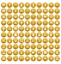 100 world tour icons set gold vector