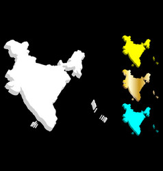3d map of india vector image