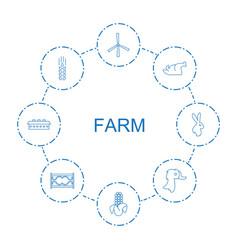 8 farm icons vector