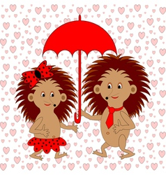 A funny cartoon couple with umbrella vector image