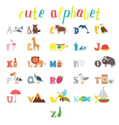 ABC Children alphabet with cute cartoon animals vector